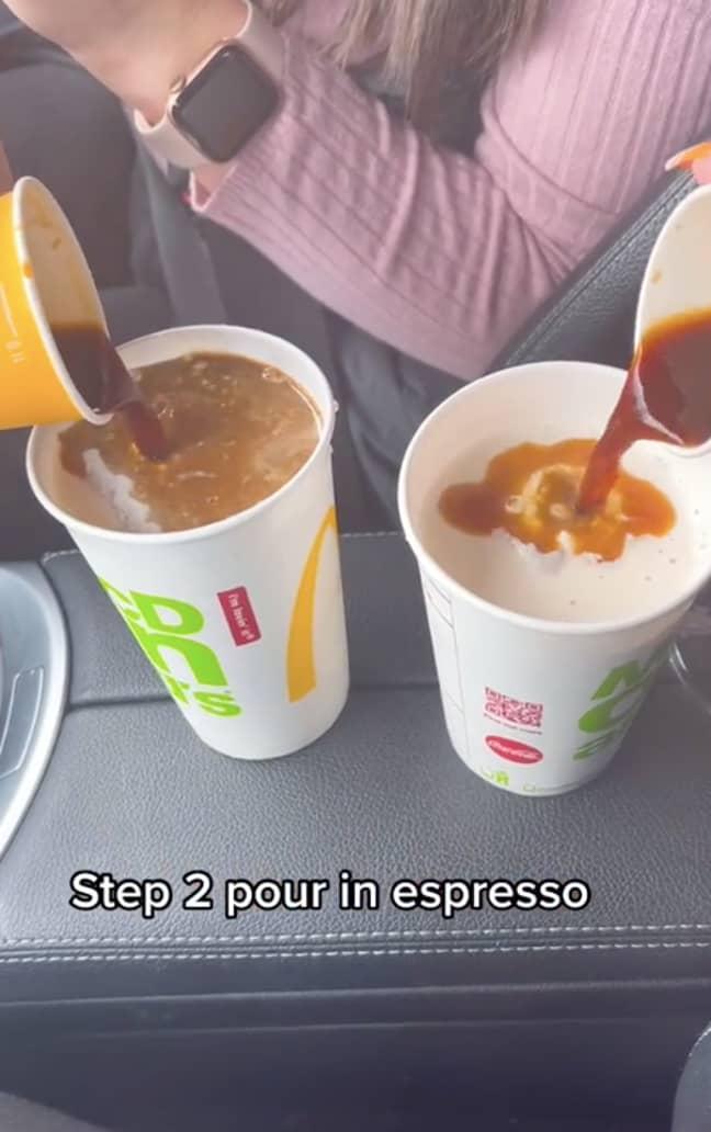 Simply add an espresso shot to your milkshake (Credit: TikTok/@melika_zaidi)