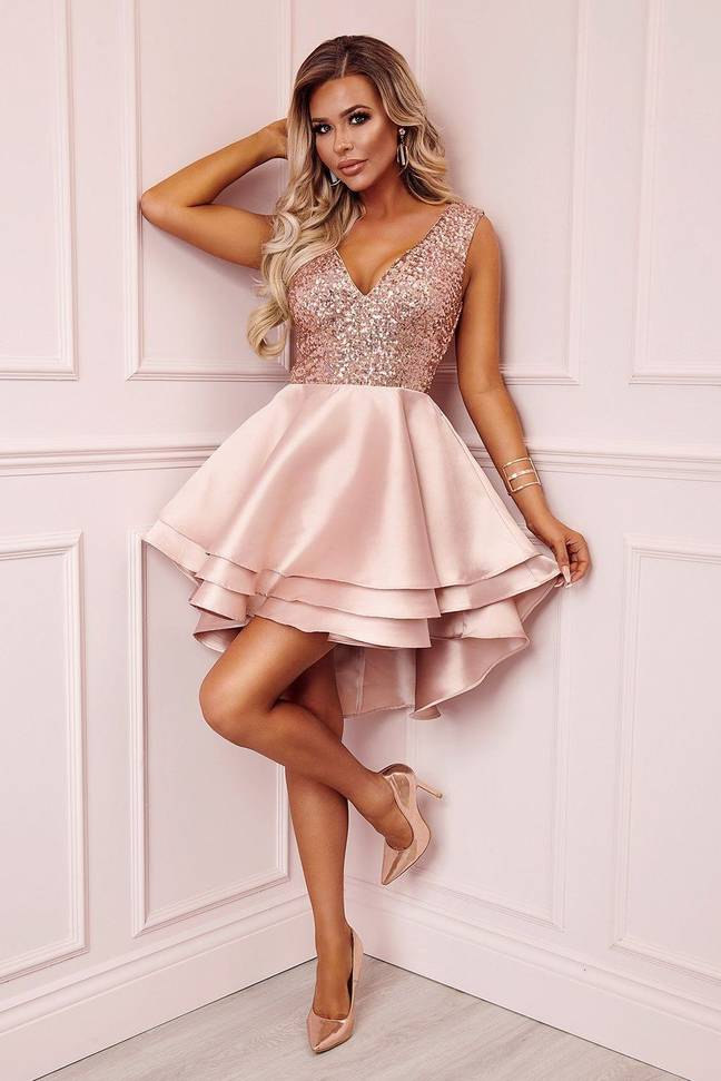 The Heart Broken Rose Skater Dress has a sugary pink colourway and V-neck sequin top (Credit: Pink Boutique)