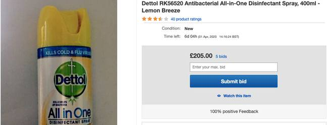 Bids for this spray have now reached over £200 (Credit: eBay)