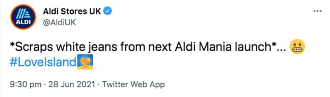 Aldi won't be selling white jeans any time soon (Credit: Twitter - aldiuk)