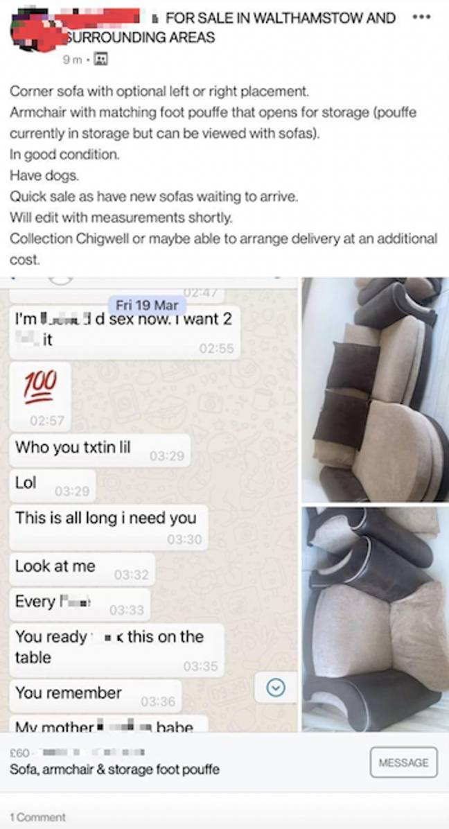 The X-rated text messages were not meant to see the light of day (Credit: Facebook)