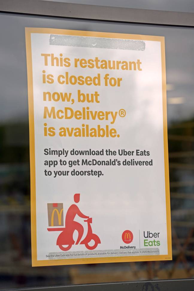 Signs up in a Boreham McDonald's, one of the branches reopening today (13th May) (Credit: PA)