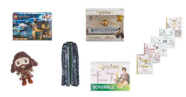Lego, £48.99, Plush Toy, £5.99, Invisibility Cloak, £27.99, Flying Snitch, £11.99, Scrabble, £14.99, Colouring Books, £24.95