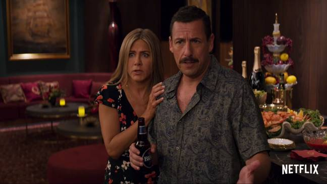 Jennifer Aniston and Adam Sandler star in Murder Mystery. Credit: Netflix