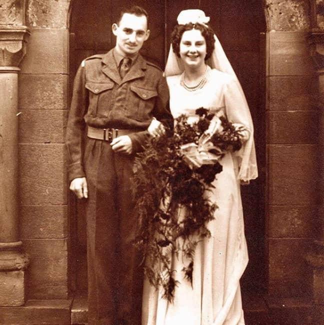 Geoffrey and Pauline on their wedding day on 15th December 1951 (Credit: @geoffreywalk)