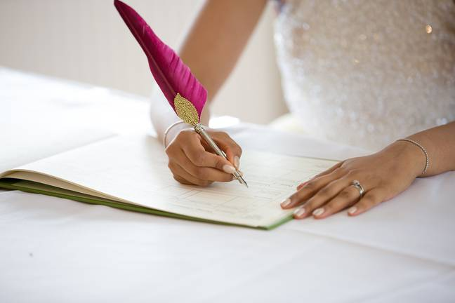 Marriages will now be recorded electronically rather than in a registry book (Credit: Shutterstock)