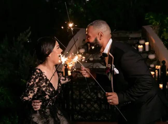 The celebration ended with sparklers (Credit: Angela Vallejo Photography)