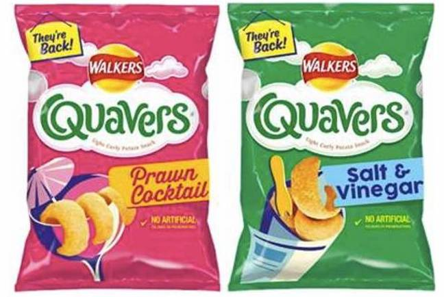Walkers recently announced its prawn cocktail and salt and vinegar flavoured Quavers have returned (Credit: Walkers)