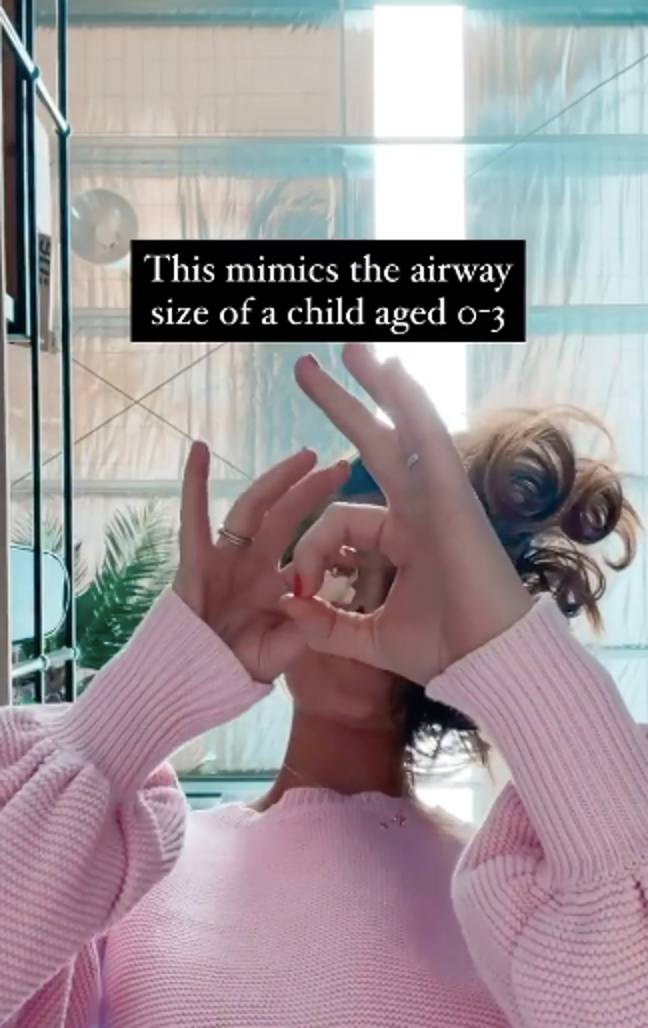 The clip demonstrates just how many items could fit in the airway (Credit: Instagram/@tinyheartsinstagram)