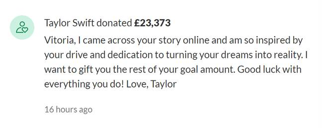 Taylor left this note on Vitoria's GoFundMe page (Credit: GoFundMe)
