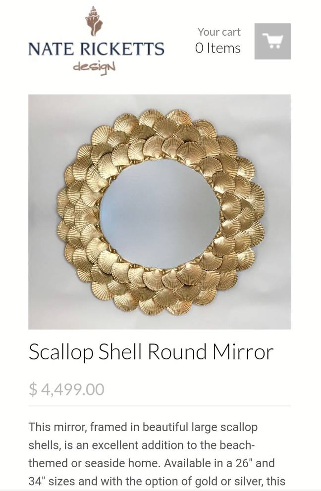 The original Scallop Shell Round Mirror designed by Nate Ricketts cost a hefty £3,572 ($4,499) (Credit: Kennedy Media)