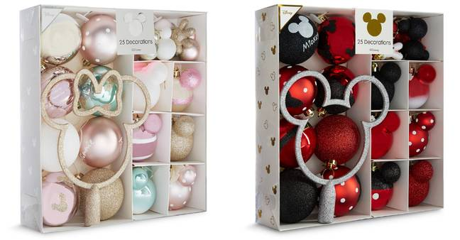 There's different colourways for your Christmas tree, available in different sets for £12 for 25 pieces (Credit: Primark)