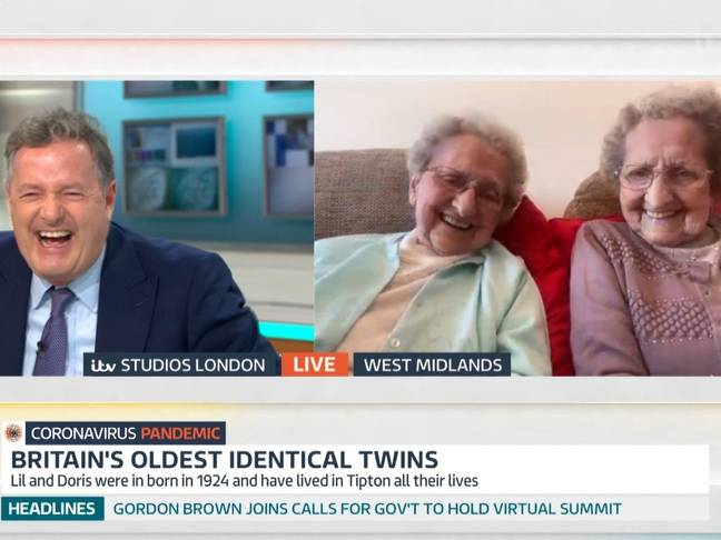 Earlier this month Piers interviewed the world's oldest identical twins (Credit: ITV / 'Good Morning Britain')