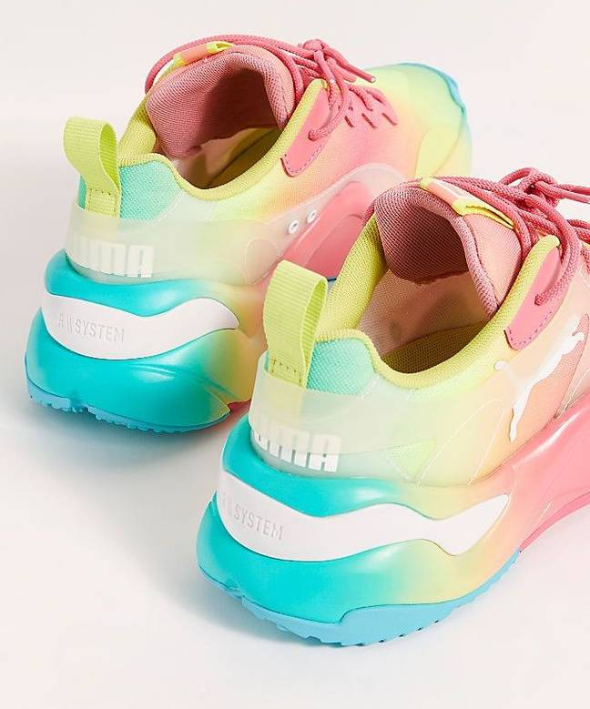 We love these mouth-watering sweetshop shades of sunny lime, bubblegum pink and turquoise (Credit: Puma / Free People)