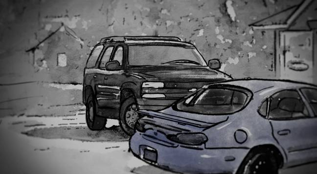 Netflix has dropped a whole bunch of exclusive evidence, like this sketch of the car spotted outside Patrice's salon (Credit: Netflix)