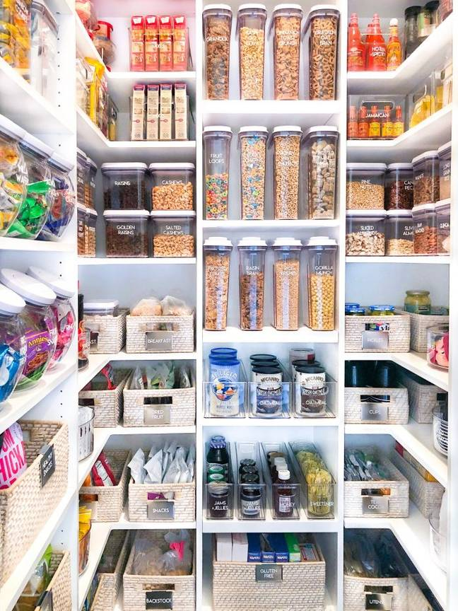 Khloe Kardashian's pantry after The Home Edit got to work on it. Credit: The Home Edit