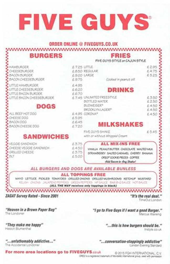 Five Guys will offer its full menu at all reopened branches (Credit: TripAdvisor)
