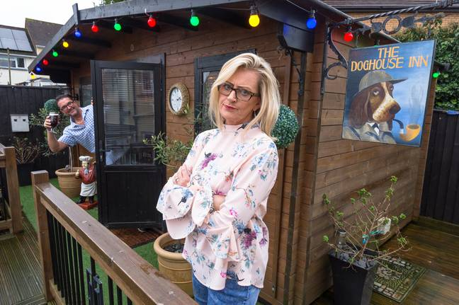 Jayne Tapper built her husband a pub in their garden named the Doghouse Inn (Credit: Caters)