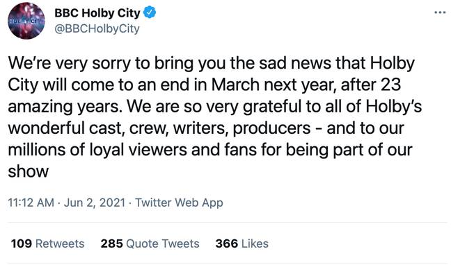 Holby City will end next year (Credit: Twitter)