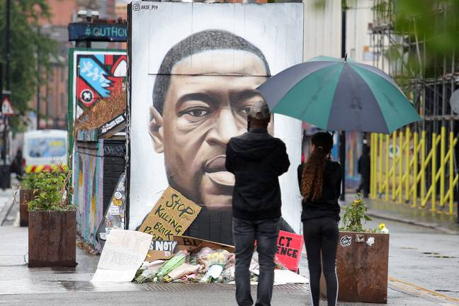 A portrait of George Floyd in Manchester. His death has ignited anti-racism protests all over the world (Credit: PA)