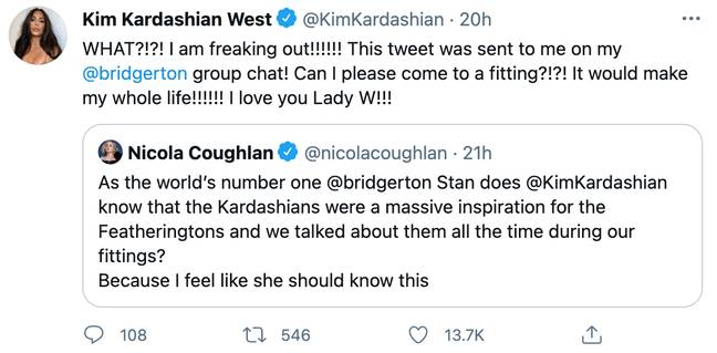 Kim Kardashian discovered that she inspired the Featherington sisters after Nicola's tweet was posted in her Bridgerton group chat (Credit: Twitter)