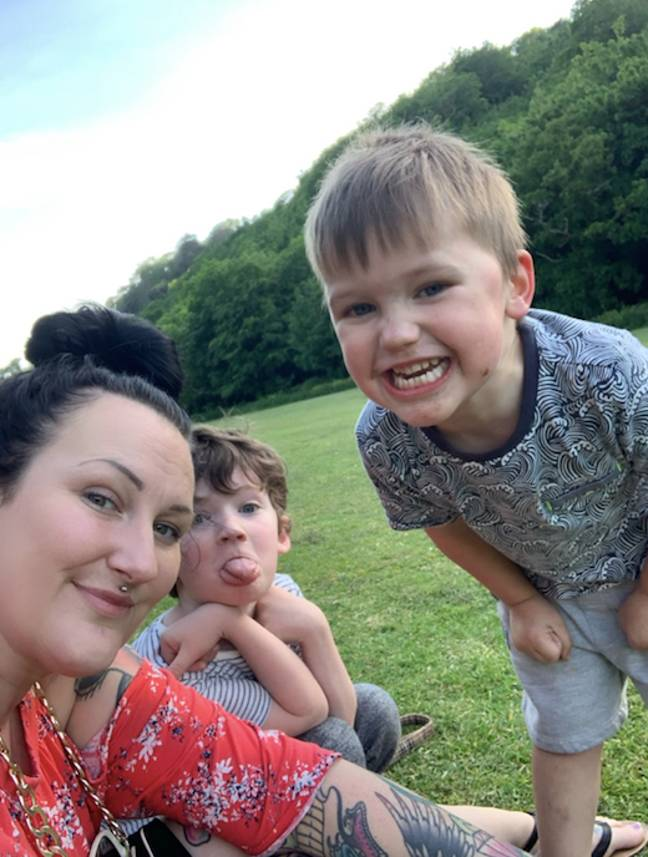 Steffi is mum to Brody, eight, and Romeo, three (Credit: Caters)