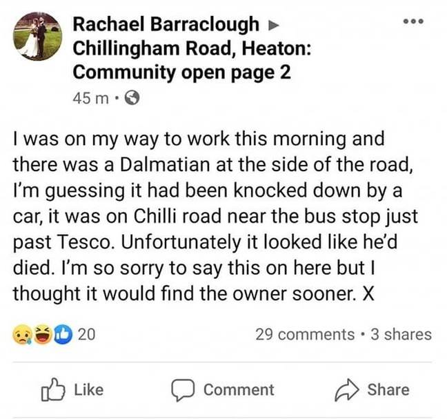 She instantly put a plea on social media asking for the owner (Credit: Kennedy)