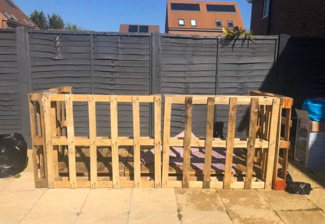 The bar was made with pallets and bamboo (Credit: Claire Bithray/Extreme Couponing and Bargains UK Group)