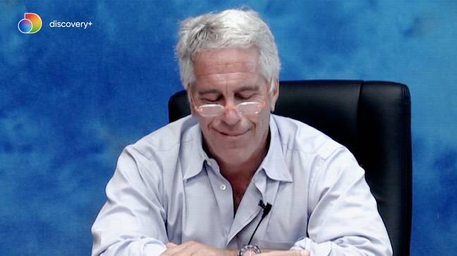 Epstein is shown smiling as he denies procuring underage girls for sex (Credit: Discovery+)
