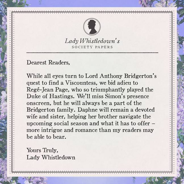 Lady Whistledown released another newsletter on Friday confirming the news (Credit: Netflix/ Twitter/ Shondaland)