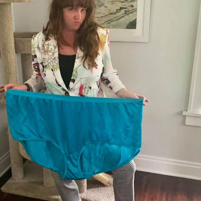 It's safe to say the knickers were bigger than expected (Credit: Caters)
