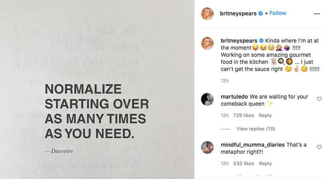 Fans tried to guess the hidden meaning (Credit: Instagram - Britney Spears)