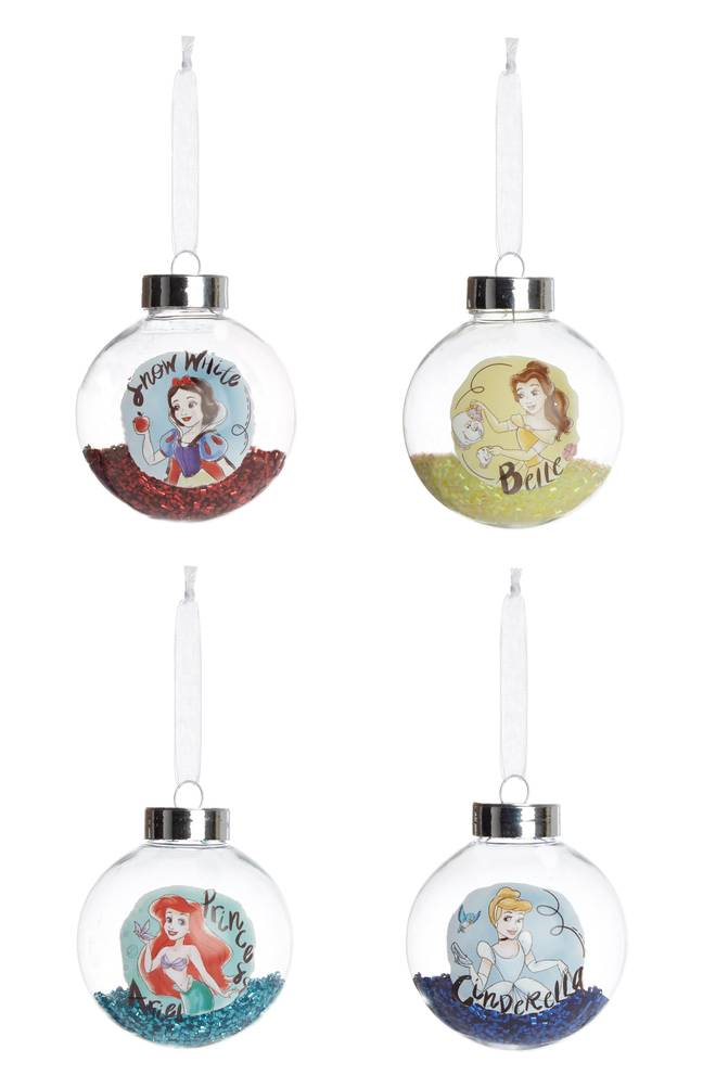 Disney Princesses including Snow White, Ariel, Cinderella and Belle all get their own baubles (Credit: Primark)