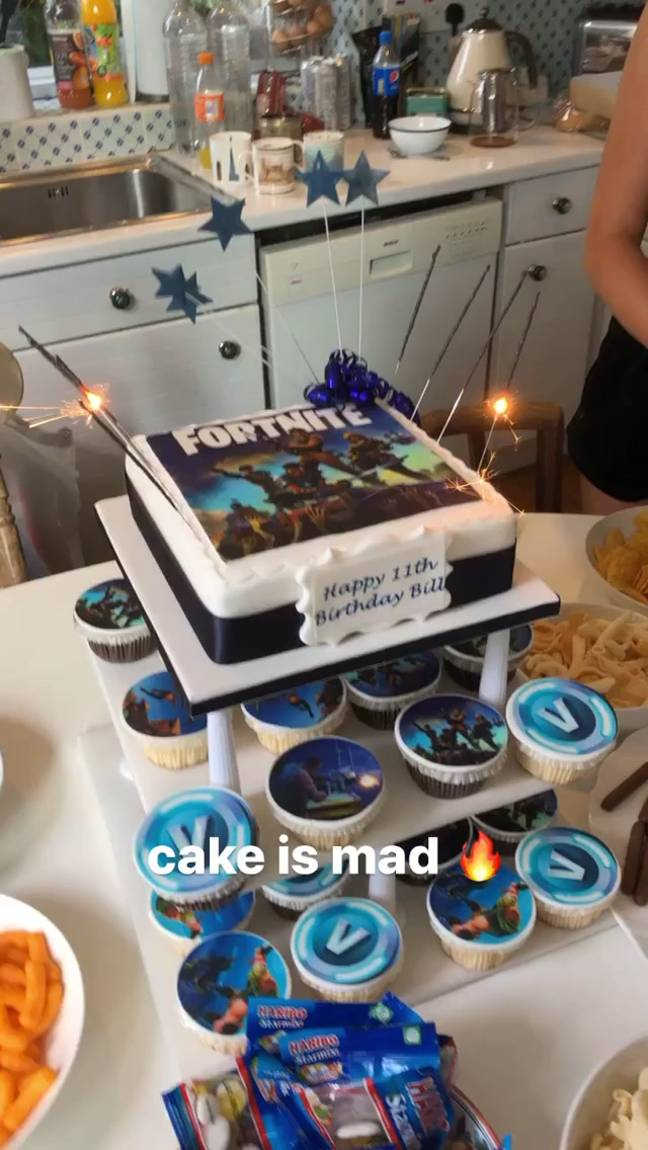 There was a Fortnite-themed cake with tiers of sponge and blue-and-white cupcakes (Credit: Instagram / Roman Kemp)