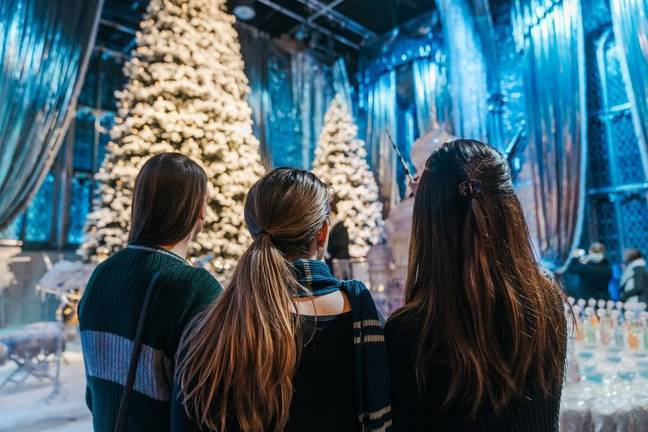 Hogwarts in the snow sees the sets dressed up for Christmas (Credit: Warner Bros Studio)