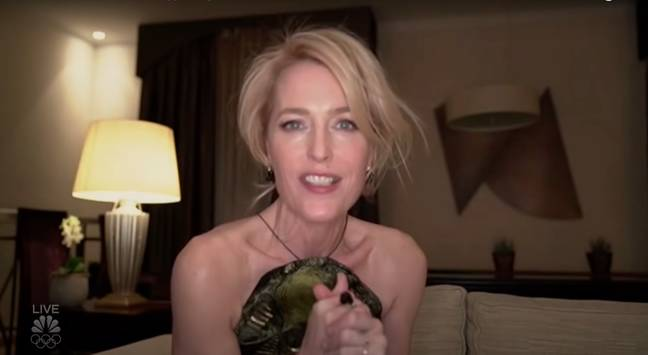 Gillian Anderson accepting her award at the virtual Golden Globes ceremony (Credit: NBC)