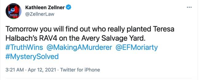 Kathleen Zellner tweeted an update on the Steven Avery case ' Credit: Twitter/Kathleen Zellner