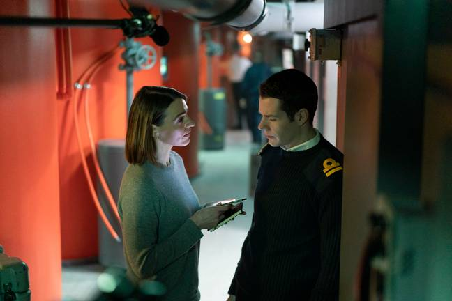 Connor Swindells plays Lieutenant Simon Hadlow, alongside Suranne Jones's DCI Amy Silva (Credit: BBC)