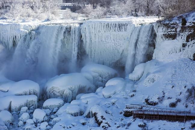 Niagara Falls - notably not falling as much as usual. Credit: PA