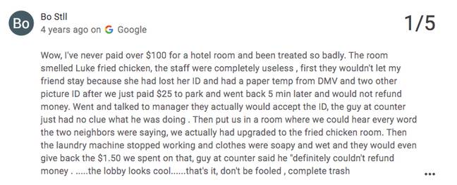 The hotel was dubbed 'complete trash' by another (Credit: Google Review/ Stay On Main)