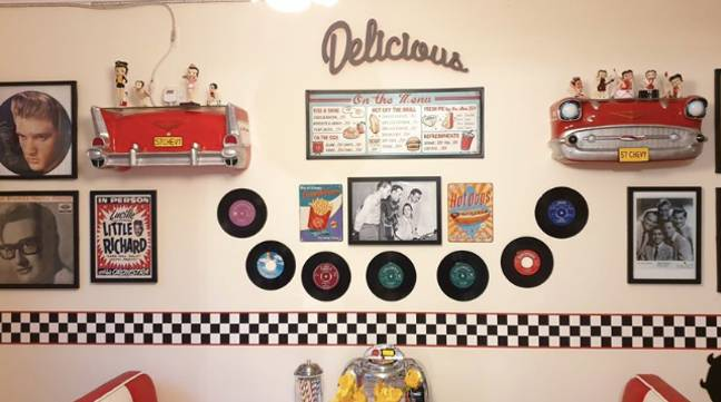 The walls were decked with memorabilia (Credit: Tracy Campbell)