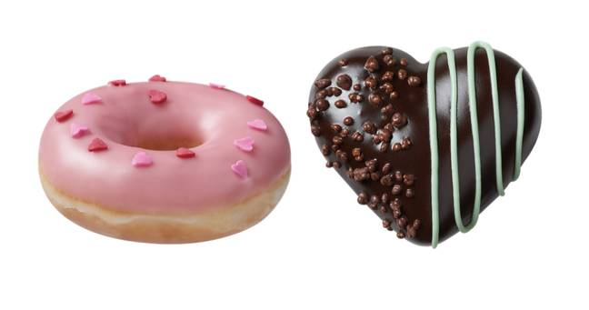 The new Dark Chocolate Mint Heart's (right) are a must try for After Eight fans (Credit: Krispy Kreme)