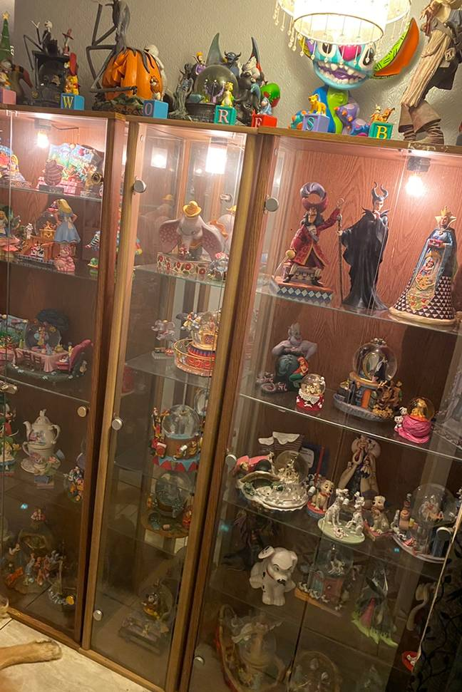 Cabinets are filled top to bottom with figurines (Credit: Caters)
