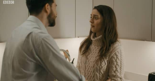 Alex's outbursts scare Rachael (Credit: BBC)