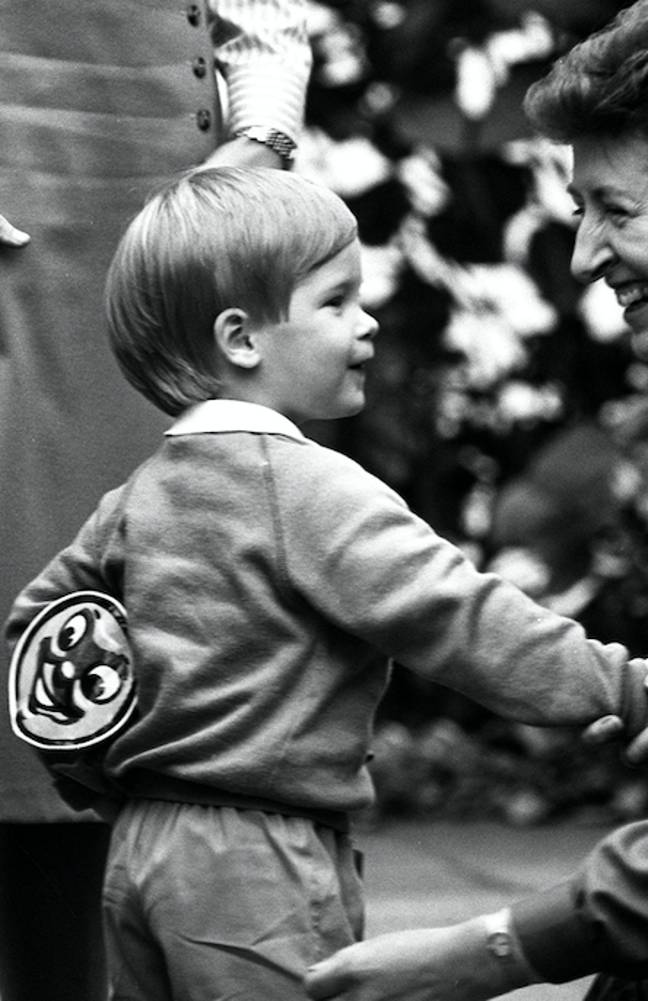 Harry can be seen carrying a very cute Thomas bag, in 1987 (Credit: PA)