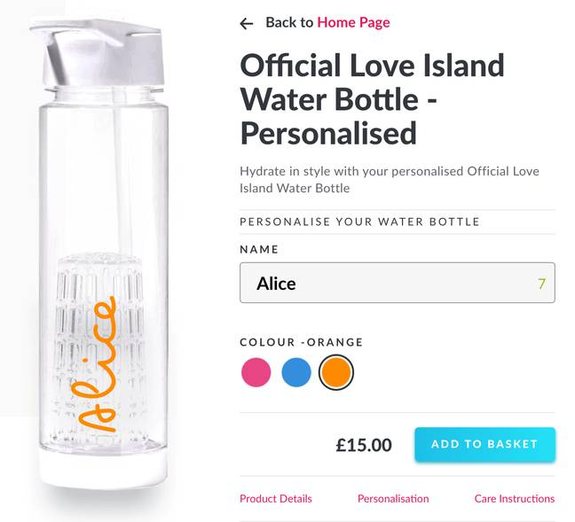 You can customise the water bottle by adding your name (Credit: Love Island Shop)