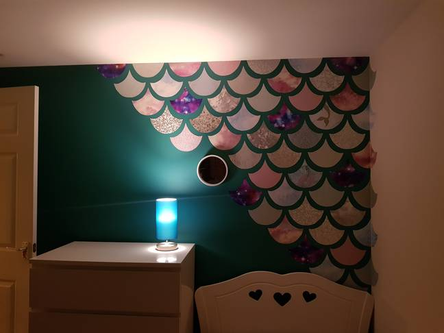 The mermaid wall looked amazing and cost less then £20 Credit: Katie Blackbourn