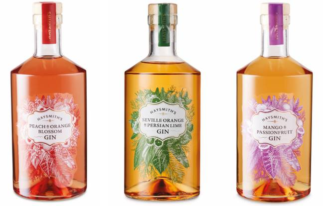 The ABV of each £15.99 gin is 37.5 per cent - perfect to mix with tonic or lemonade (Credit: ALDI)