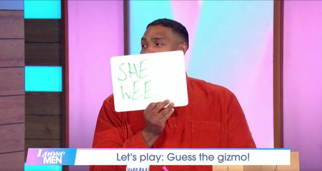 Jordan Banjo correctly guessed the product was a Shewee (Credit: ITV)