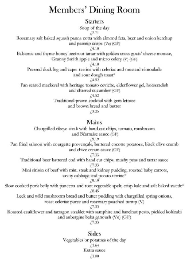 The Members Dining Room menu can be found online (Credit: Members Dining Room)